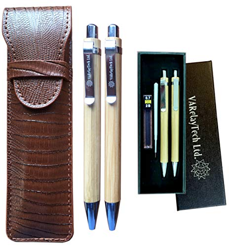 Bamboo Ballpoint Pen and Mechanical Pencil Set with PU Leather Pouch, Spare Pen Refill and Pencil Leads, and Gift-Box