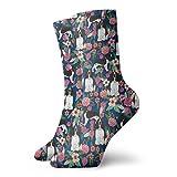 Hangdachang Springer Spaniel inglés y retro floral Art Printed Unisex Casual Calcetines de compresión antideslizantes para el trabajo Calcetines de poliéster de 30 cm (11,8 pulgadas)