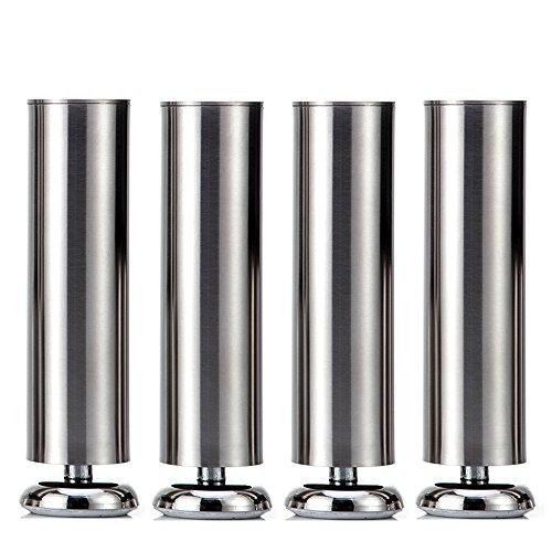 Qrity 4 pz Mobili in metallo Gamba Divano Leg armadietto Piedi guardaroba per Mobili per la casa - Rubber Mat - Sicuro e silenzioso 50 x 150mm