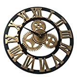 OUKANING Large Wall Clock,Antique Handmade Wooden Vintage 3D Gear Design Vintage Round Wooden Wall Clock Retro Wood Steampunk Skeleton Home Decor Gold (Gold, 45cm)
