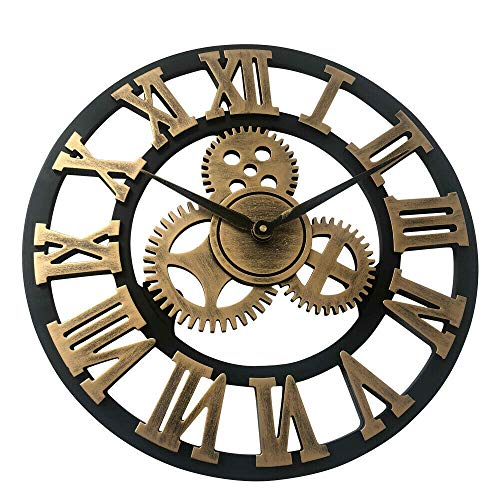OUKANING Large Wall Clock,Antique Handmade Wooden Vintage 3D Gear Design Vintage Round Wooden Wall Clock Retro Wood Steampunk Skeleton Home Decor Gold (Gold, 40cm)