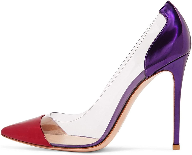 Amarantos Women's Pointy Toe 12cm Pencil Heel Transparent Sides Dress Party Stiletto shoes