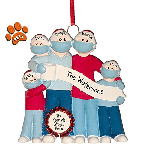 Pandemic Family with TP Banner - 5 - Personalized Christmas Ornaments - Social Distancing - Face Masks - Optional Pets - Perfect Handwriting