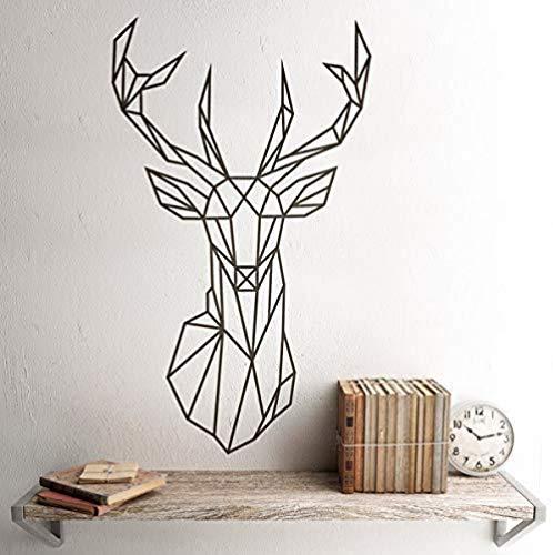 Vinilo para Pared Origami Geometric Deer Head Polygonal Deer Head Tatuajes de pared | Vinilo de caza de cuernos de ciervo 42X71Cm