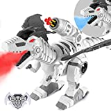 Multifunctional R/C Robotic Dinosaur with Mist Spray and Soft Bullets Shooting, Interactive Electronic Fire Breathing Dragon with Programming, Intelligent Walking T-rex Toy Gift for Kids (White)
