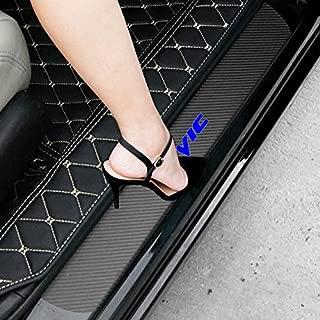 SENYAZON Civic Decal Sticker Carbon Fibre Vinyl Reflective Car Door Sill Decoration Scuff Plate for Honda Civic (Blue)