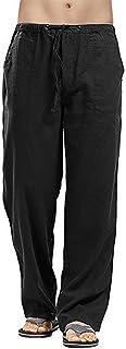 VANVENE Men Linen Trouser - Loose Fit Casual Lightweight Drawstring Beach Yoga Pants