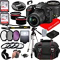 Nikon D3500 DSLR Camera w/NIKKOR 18-55mm f/3.5-5.6G VR Lens + Case + 128GB Memory (26pc Bundle) by Jerry's Photo | Nikon Intl