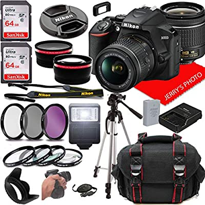 Nikon D3500 DSLR Camera w/NIKKOR 18-55mm f/3.5-5.6G VR Lens + Case + 128GB Memory (26pc Bundle)