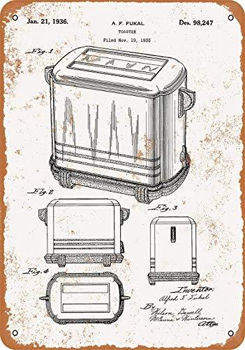 Cartel de metal con aspecto vintage de patente tostadora de 20 x 30 cm