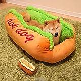 EDTara - Panier en coton pour animaux domestiques en forme de Hot Dog - Coussin design, chaud et lavable