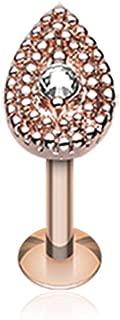 Rose Gold Aria Sparkle Teardrop Steel Labret