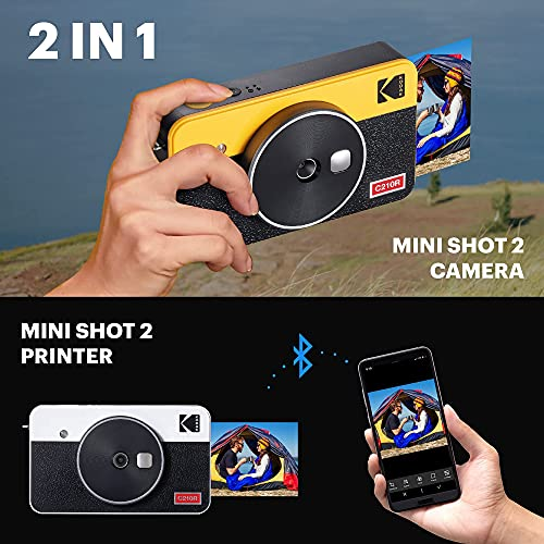 Kodak Mini Shot 2 Retro | 68-Sheet Bundle | Portable Wireless Instant Camera & Photo Printer, Compatible with iOS & Android and Bluetooth Devices, Real Photo (2.1x3.4) 4Pass Technology - Yellow
