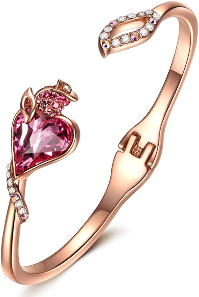 QIANSE Bracelets for Women, Rose Lover Rose Gold Plated Cuff Bangle Bracelet, Pink Heart Crystals from Austria Jewelry Gifts for Her