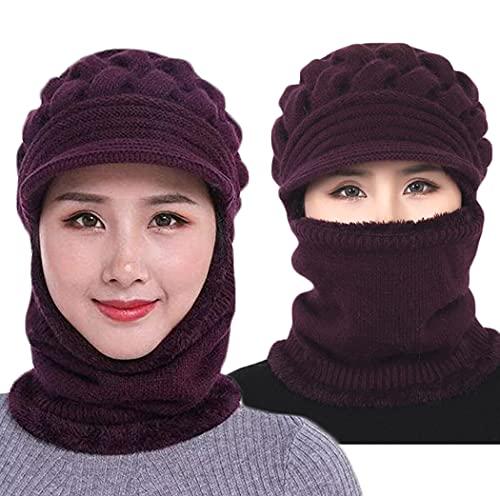 Fleece Lined Womens Beanie Knit Hat, Winter Scarf Mask Set,Middle-Aged and Elderly Mother Warm Hat Earmuffs Cap (one Size, Dark Purple)