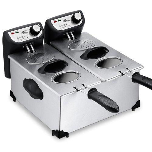 Deuba Freidora de aceite doble eléctrica 2x 2000W 2x 3L de Acero inoxidable para patatas fritas zonas frías temperatura 130-190°C