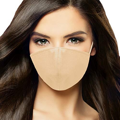 DALIX Skin Tone Cloth Face Mask 3 Layer Filter Pocket Nose Piece Sand - S-M