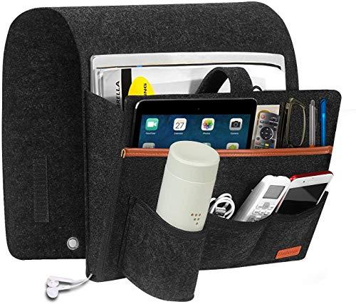 XYDZ Bolsillo Cama Organizador,Organizador Cama Fieltro,Bolsa Almacenamiento de Fieltro,con 5 Bolsillos, para sofá para DVD, revistas, tabletas, Controles remotos