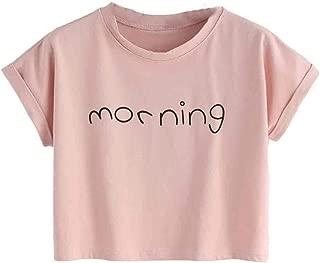 Summer Hot Sexy Short Sleeve Crewneck T Shirt Crop Top for Women, Teen Girls