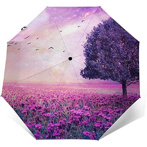 Lila Blume Natur Baum Sonnenschirm Sonnenschirm-Leicht Winddicht Sonnenschirm-Auto Öffnen und Schließen-Taste