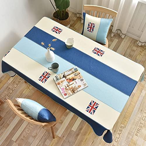 Aooaz Manteles Eventos, Manteles de Tela Poliéster 135X220cm Azul Beige Rayas con Bandera Británica