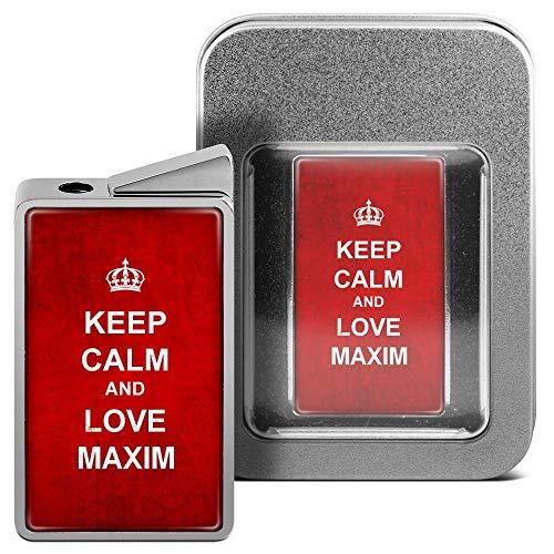 printplanet Feuerzeug mit Namen Maxim - personalisiertes Gasfeuerzeug mit Design Keep Calm - inkl. Metall-Geschenk-Box