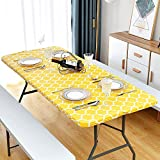 """Lifesmells Picnic Table Cover, Fitted Tablecloth with Bench Covers, Vinyl, Elastic, Checkered, Oil&Waterproof for Camping, Dining, Outdoor, Park, Patio,Moroccan Yellow 72x30"""""""