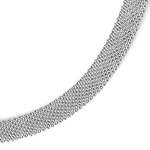 10mm breite Phantasiekette 585 Gold Weißgold Halskette Collier 45cm Goldkette