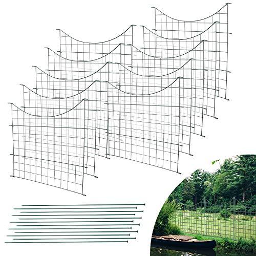 Einfeben Teichzaun Gartenzaun 22tlg Set Zaun Teich mit 10 Zaunelemente und 12 Befestigungsstäben, Metallzaun Grün, Gitterzaun, Gartenzaun, Campingzaun (Unterbogen)