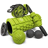 321 STRONG 5 in 1 Foam Roller Set Includes Hollow Core Massage Roller with End Caps, Muscle Roller Stick,...