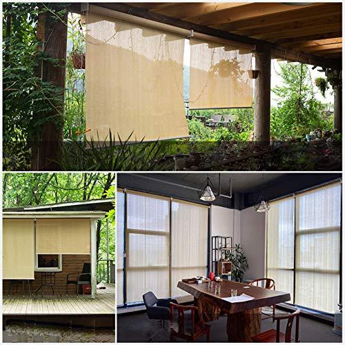 HAIZHEN Pantalla enrollable de tela de protección solar, 185 g/m², HDPE para exteriores, pantalla de privacidad, porche, balcón, pérgola, fácil de instalar para patio, césped y jardín