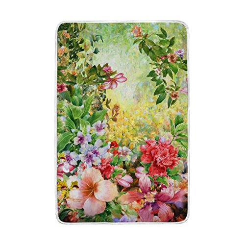 ALAZA Spring Multicolored Flowers Watercolor Polyester Microfiber Throw Blanket 60' x 90' Lightweight Cozy Couch Blanket Bed Blanket by My Daily