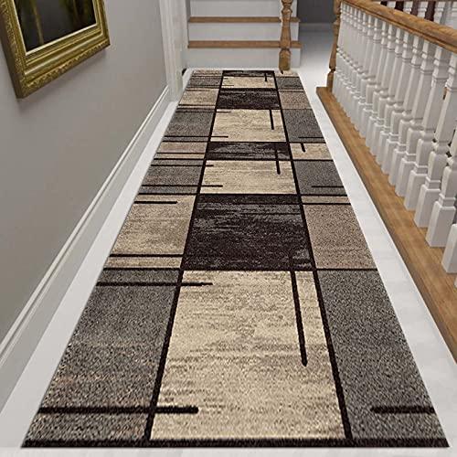 JLXJ Grands Tapis de Passage Marron, Rectangle Moderne Lavable Tapis de Couloir Capitonné pour Couloir, pour Entrée/Cuisine/escaliers, Support Antidérapant (Color : W×L, Size : 100×250cm(3ft×8ft))