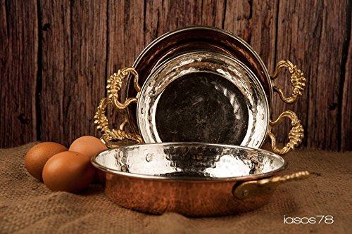 Turkish Emporium Kupfer Omelette Pfanne Kupferpfanne Paellapfanne Kupferpfännchen Messinggriffe (21 cm)