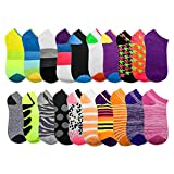 20 Pairs - Women's Socks - Ankle Cut, Low Cut, No Show, Footie, Casual Girls in Colorful Patterns (Size 9-11)