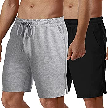 COOFANDY Men s 2 Pack Workout Shorts 7   Cotton Gym Shorts Athletic Running Bodybuilding Training Jogger with Pockets Black/Gray