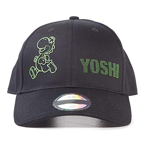 Nintendo Super Mario Bros. Super Mario Bros. Yoshi Dots Adjustable Cap Gorra de béisbol, Negro, One Size Unisex Adulto
