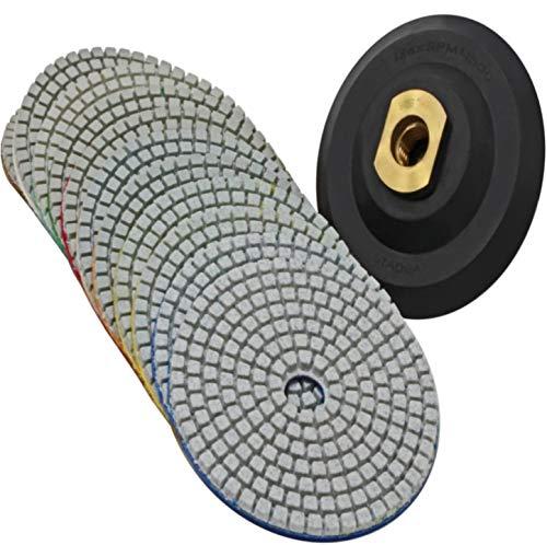 Stadea PPW182E Diamond Polishing Pads 4 Inch Wet Dry Set for Granite Quartz Concrete Marble Stone Countertop Polishing