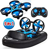 Yard Ferngesteuerte Boote / Drohne Kinder fr Wasser und Himmel / RC Mini Quadcopter 3 in 1 Wasserdichtes Luftkissenfahrzeug Spielzeug(schlieen Sie 2 Batterie EIN)