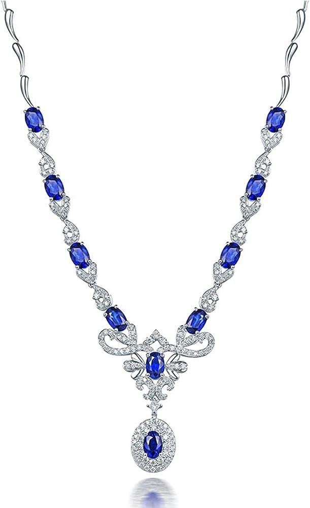 Luxury Jewelry 18K 5 popular White Gold Women Sapphire Limited time trial price Diamonds Natural Ne