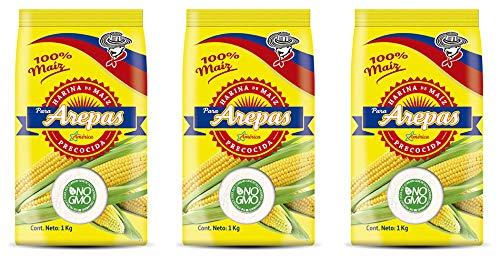 Weißes Maismehl (vorgekocht) für Arepas / Harina de Maiz blanca precocida para Arepas, (3 x 1kg)