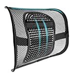 """SAMYOUNG Mesh Back Lumbar Support, Adjustable Massage Back Support Seat Cushion with Breathable Mesh for Office Chairs Car Seats 12"""" x 16"""""""