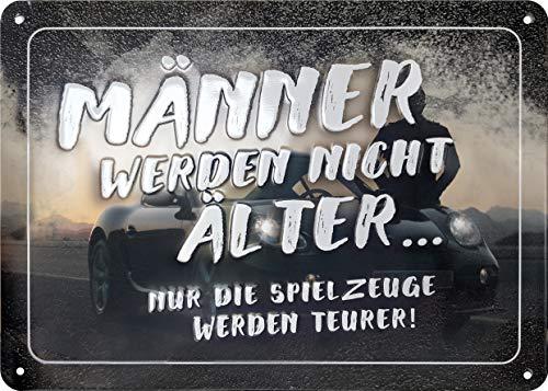 Blechschild mit Spruch, Retro Blechschild, Vintage-Schild, Wand-Dekoration, Metall, 15x21 cm, Motiv: Männer
