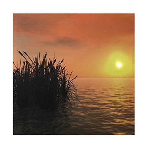 LED Bild Sonnenuntergang , See ,Bild, LED Stimmungsbild mit 1 LED und 50 cm Breit x 50 cm Hoch Batteriebetrieb , nur 0,06W, Leuchtbild auf Leinwand mit An und Ausschalter , Batterien inklusive. LED