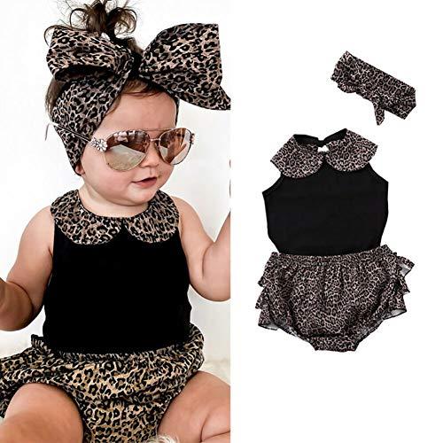 Kinderkleidung 2020 Sommer Neue Kinder Puppenkragen Baby Overall Leoparden Spitze Shorts Mädchen Anzug