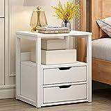 Mesa de noche, armario de almacenamiento de cabecera con 2 cajones ensamblado, armario de almacenamiento de cajón simple, muy adecuado para muebles domésticos, accesorios de dormitorio (Color: Marró