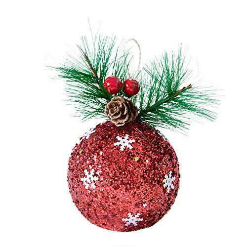 UKtrade 1pc 2019 Feliz Navidad colgante bola bolas decoraciones para árbol de Navidad fiesta de Navidad techo colgante decoración (rojo)