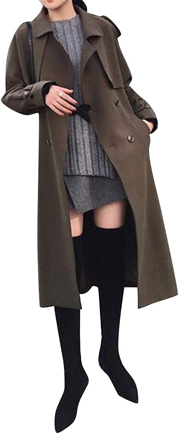 Fubotevic Women Belted Casual Double Breasted Loose Solid Trench Coat Windbreaker Overcoat