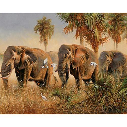 Elefante En El Prado De Otoño Lienzo De Bricolaje Regalo De Pintura Al Óleo Para Adultos Niños Pintura Por Número Kits Decoraciones Para El Hogar - 40X50Cm