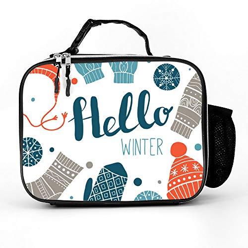 happygoluck1y Hallo Winter Kleurrijke Wenskaart Of Print Desi Lunch Tassen Geïsoleerde Rits met Zakken Draagbare Lunch Box voor Vrouwen voor Werk voor Kinderen